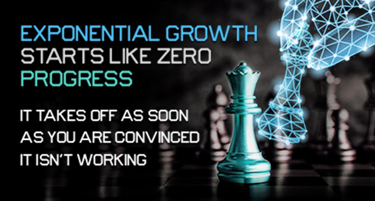 Exponential Growth Starts like zero Progress